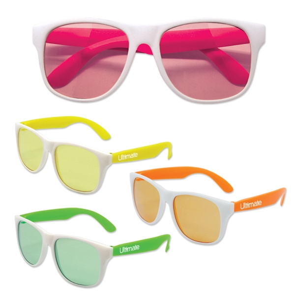 White Frame Classic Neon Sunglasses with Neon Lenses