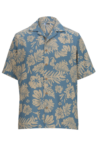 Unisex Short Sleeve Two Color Tropical Hibiscus Camp Shirt