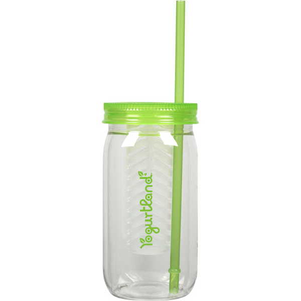 Mason jar with infuser and straw, 20 oz