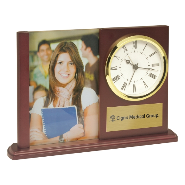 Matte Finish Wooden Alarm Clock with Photo Frame