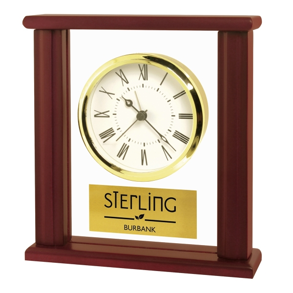 Wood & Glass Upright Desk Alarm Clock
