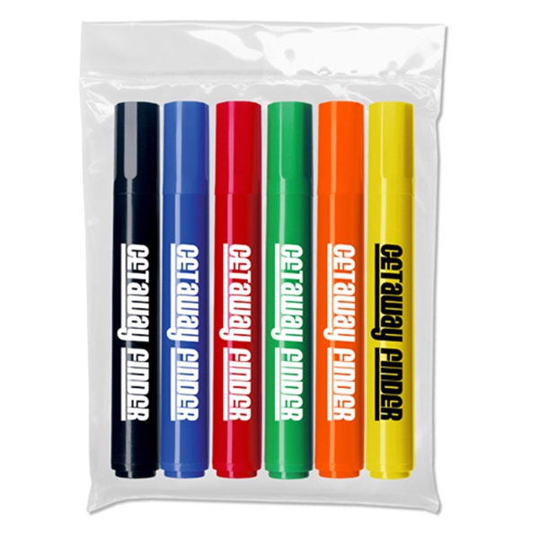 Chisel Tip Broadline Permanent Markers In Plastic Pouch