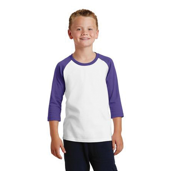 Port & Co. Youth 50/50 Cotton/Poly 3/4 Sleeve Raglan T-Shirt
