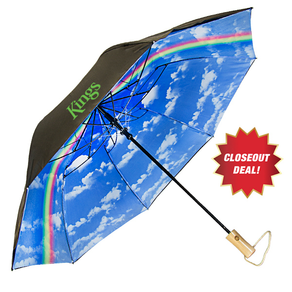 Blue Sky & Clouds With Rainbow Folding Umbrella - Auto-open