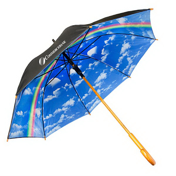 Blue Sky & Clouds With Rainbow Fashion Umbrella - Auto-open