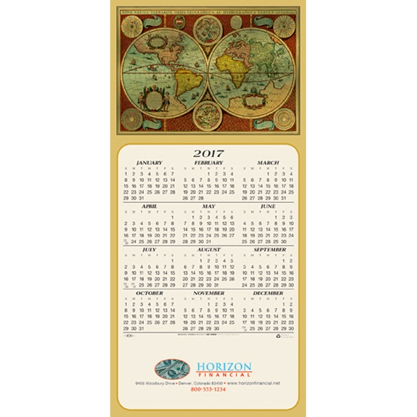 Around the World calendar greeting card
