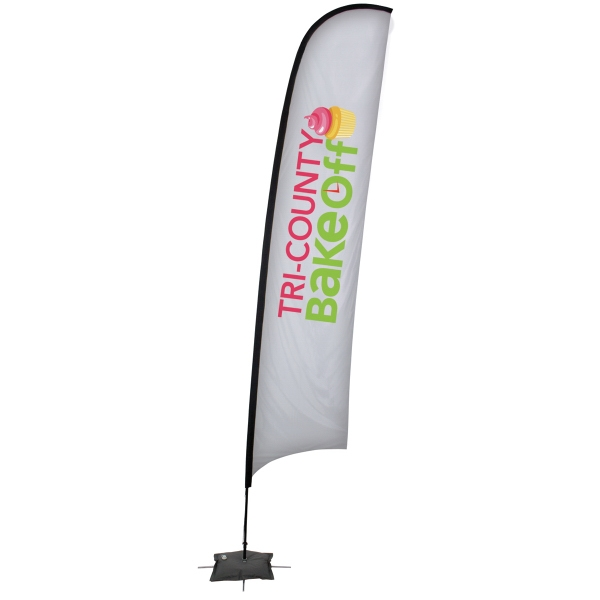 24 Hour Quick Ship 17' Razor Sail Sign Banner Kit One-Sided