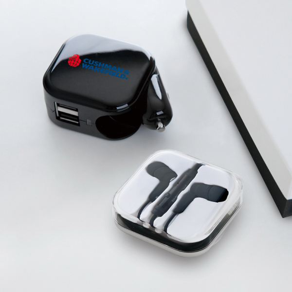 Wall+car charger and earphone tech gift set