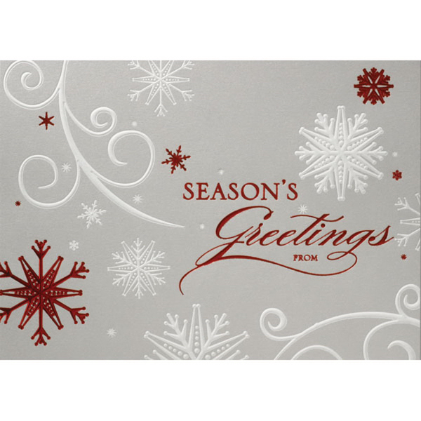Red & White Snowflakes Greeting Card