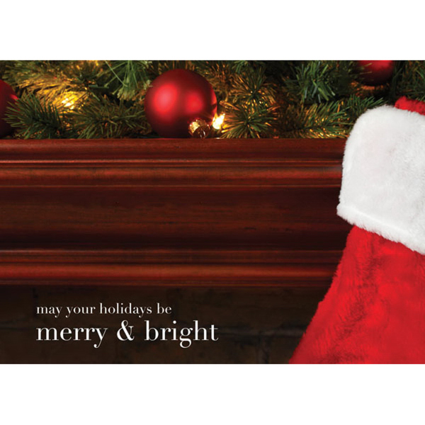 On The Mantel Merry & Bright Greeting Card