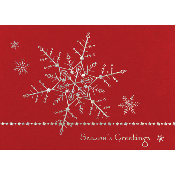 Silver Dainty Snowflakes Greeting Card