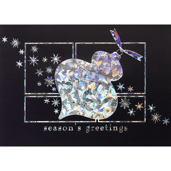 Reflective Ornament on Blue Greeting Card