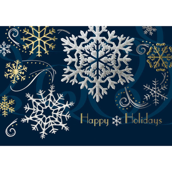 Gold & Silver Holiday Snowflakes Greeting Card