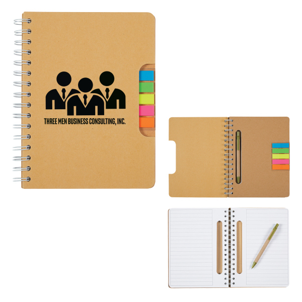 Eco Spiral Notebook with Pen and Sticky Flags