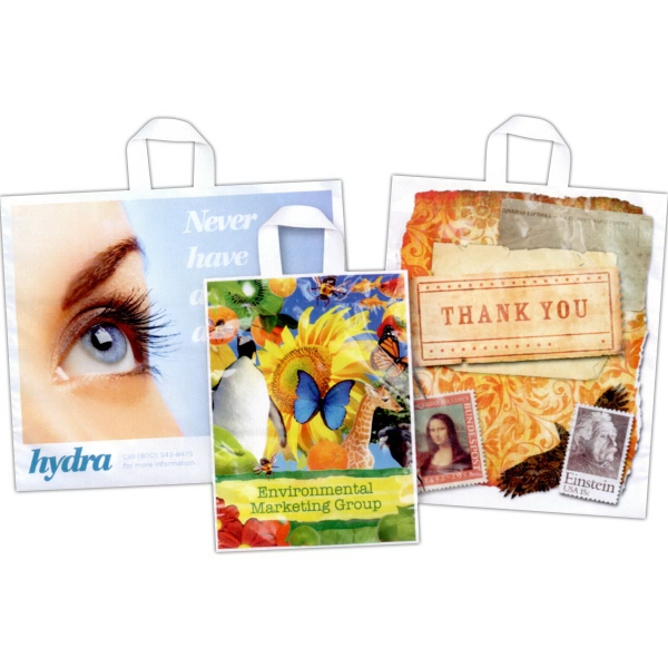 Full Color Digitally Printed Plastic Soft Loop Handle Bags