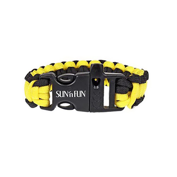 Yellow & Black Paracord Bracelet with Whistle
