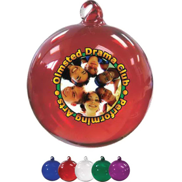 "3"" Hand Blown Glass Ornament (Full Color)"