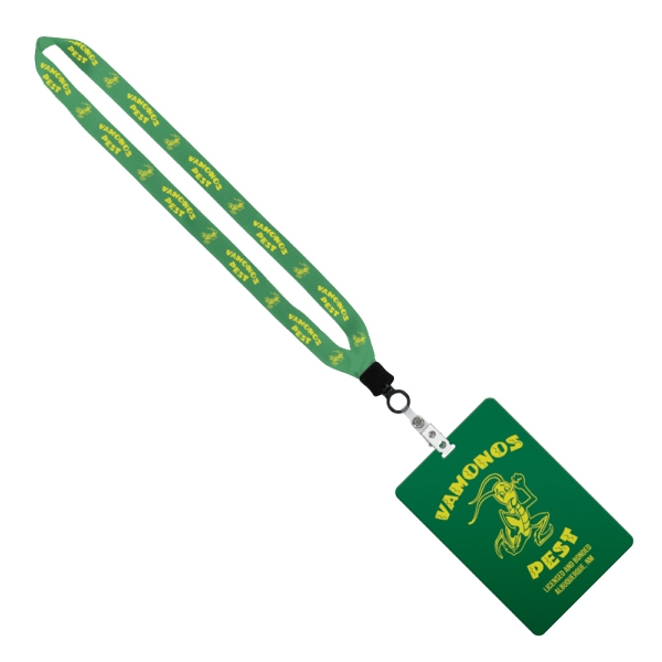 "3/4"" Sublimated Lanyard w/ 4 1/4"" W x 6"" H Plastic ID Badge"