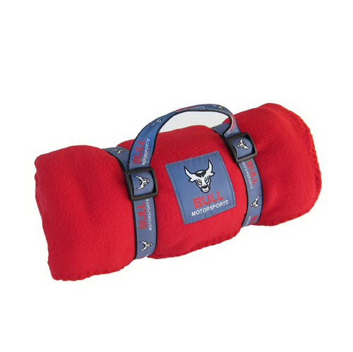 Fleece Blanket w/ Woven Carry Strap