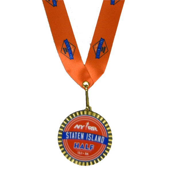 "Full Color Insert Medal w/ 1"" Custom Neck Ribbon"