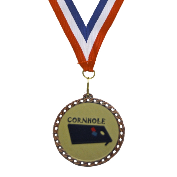 "Full Color Insert Medal w/ 7/8"" Stock Neck Ribbon"