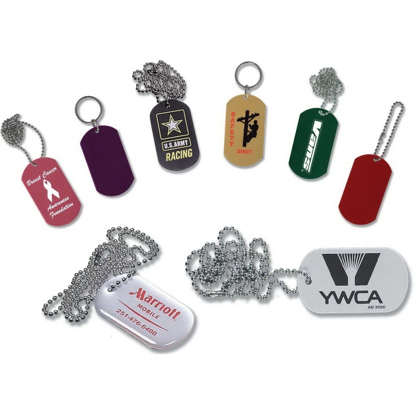 """Color Dog Tag with 24"""" Chain"""
