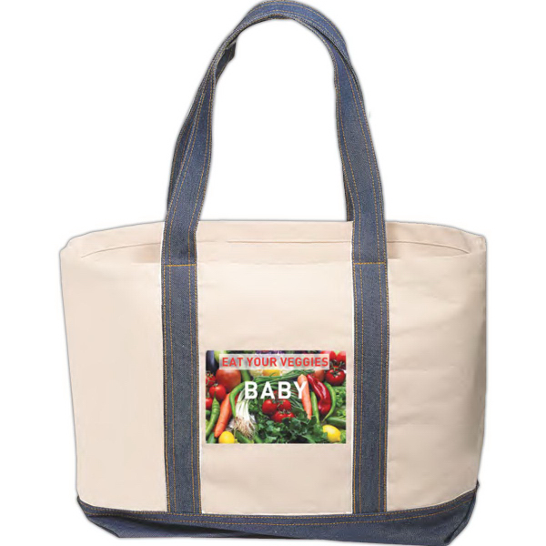 Cotton Tote with Denim Accents