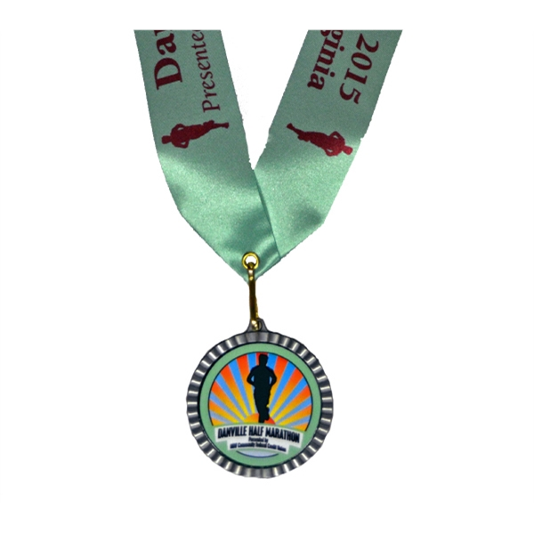 "Full Color Insert Medal w/ 1 5/8"" Custom Neck Ribbon"