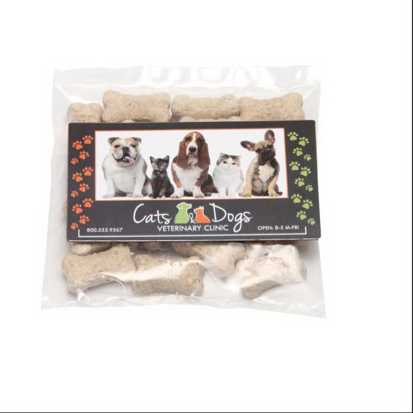 Mini Dog Bones in Bag with Business Card Magnet