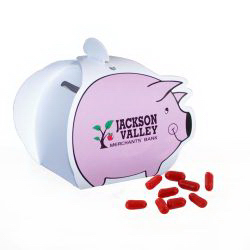 Piggy Paper Bank with Mini Bag of Hot Tamales