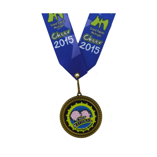 "Full Color Insert Medal w/ 1 5/8"" Custom Nec"
