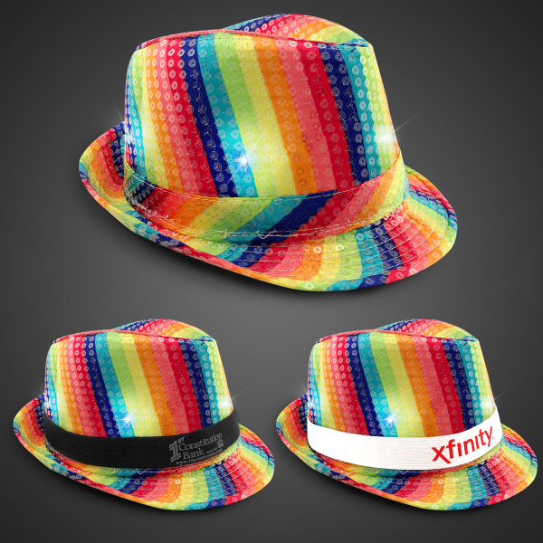 Rainbow Sequin LED Fedora with Imprinted Band