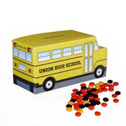 School Bus Paper Bank w/Mini Bag of Reeces Pieces