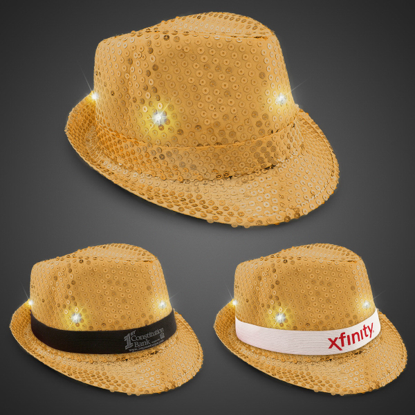 Gold Sequin LED Fedora Hat with Imprinted Band