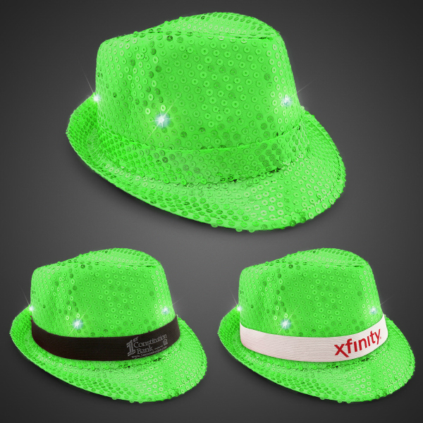 Neon Green LED Sequin Fedora with Imprinted Band