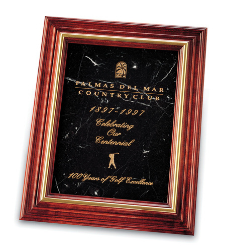Small Cherry & Black Marble Plaque Award