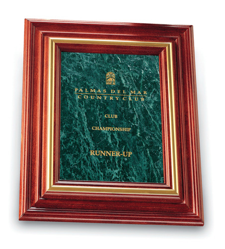 Small Cherry & Green Marble Plaque Award