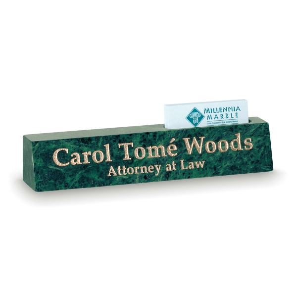 Green Marble Desk Nameplate with Cardholder