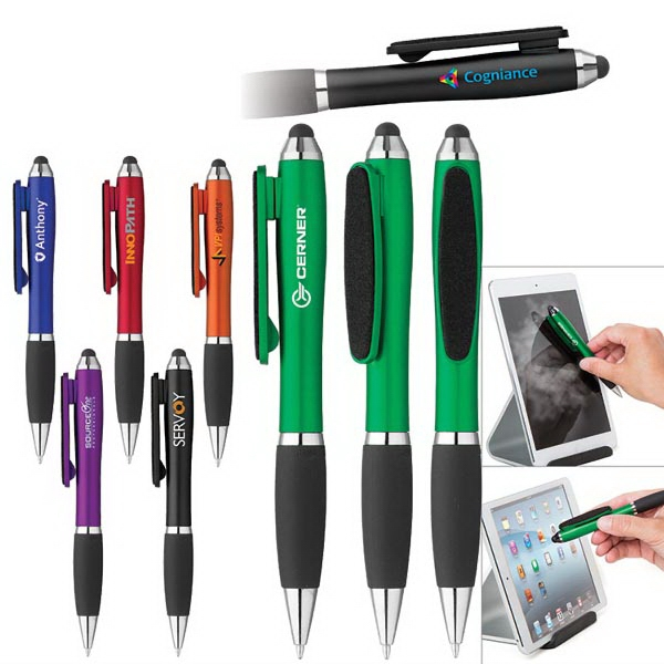 Curvaceous Stylus Twist Pen with Screen Cleaner