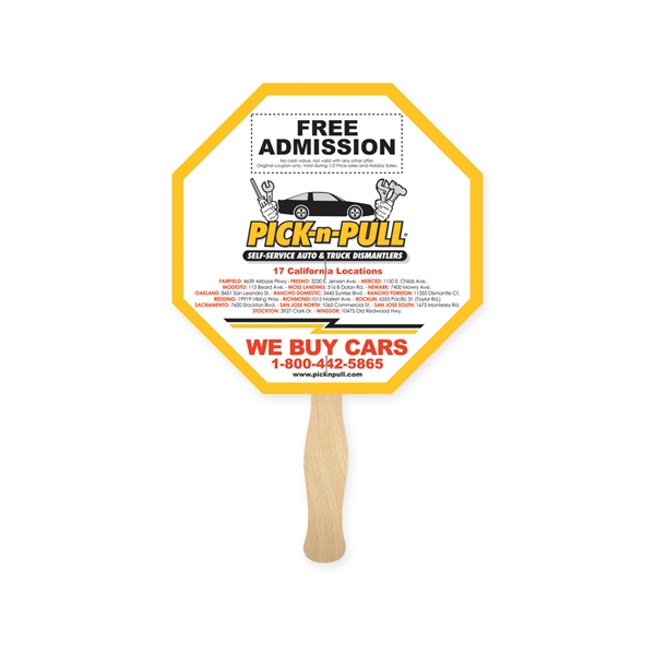 Stop Sign Shape Full Color Fan 2 Sided
