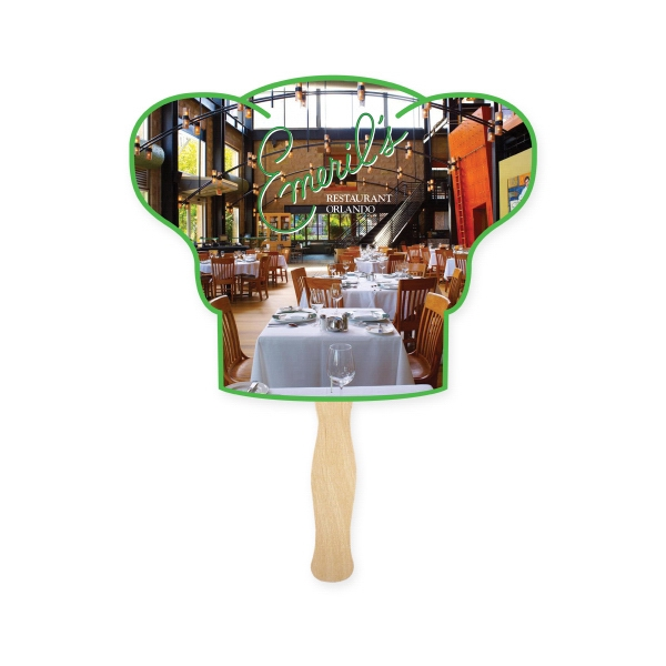 Fan - Chef Hat Shape Full Color Hand Fan 2 Sided