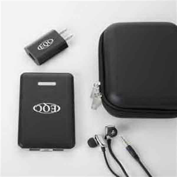 Black Power bank with wall charger and earphone tech