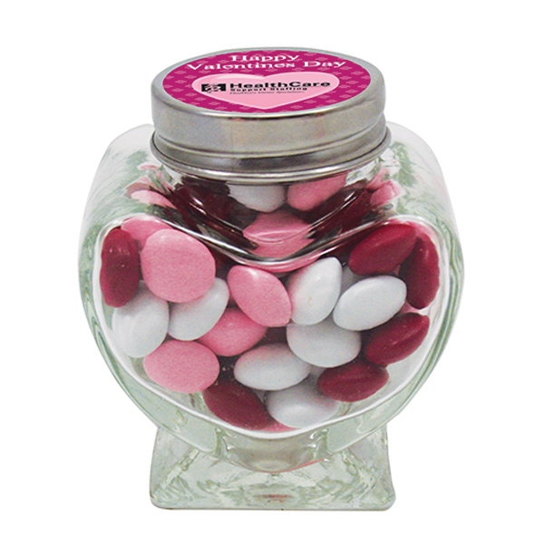 Glass Heart Jar / Chocolate Buttons (2.8 oz.)