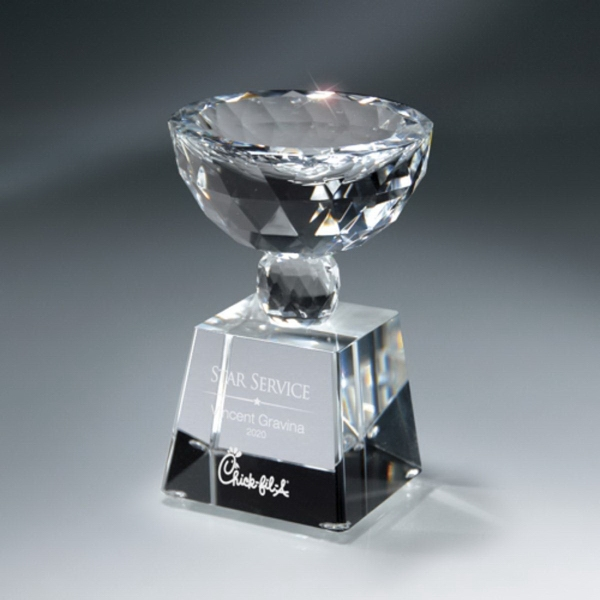 Faceted Crystal Cup on Clear Base - Large
