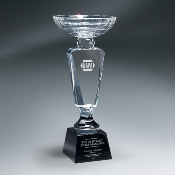 Faceted Crystal Cup on Black Crystal Base - Large