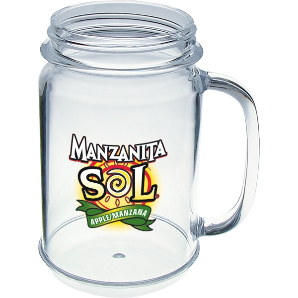 16 oz. Heavy Plastic Mason Jar Mug with Handle