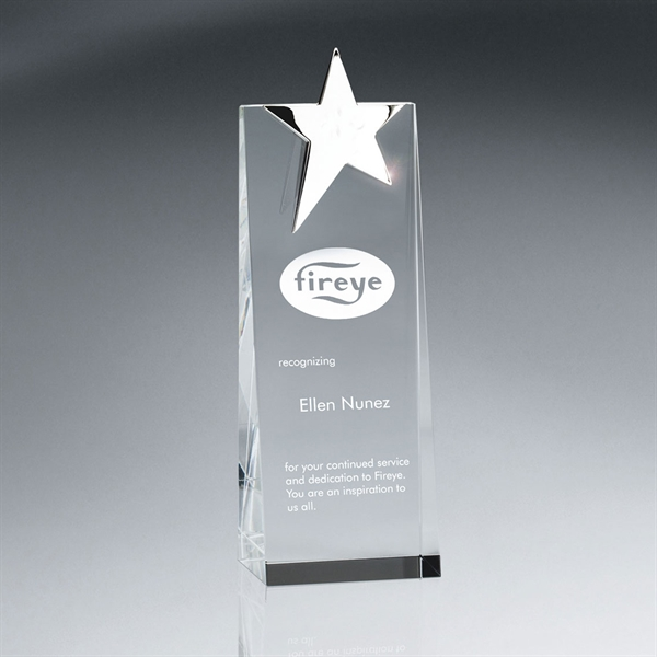 Silver Star Topped Optic Crystal Tower Award - Medium
