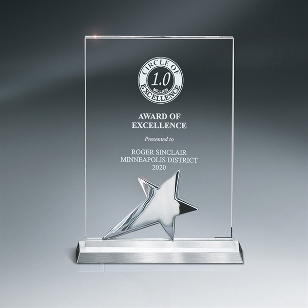 Optic Crystal Tablet Award with Silver Star on Metal Base