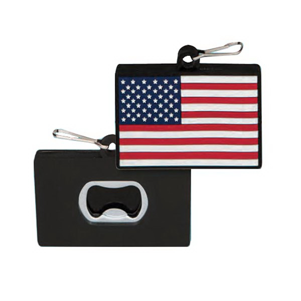 PVC Bottle Opener Zipper Pull - Flag
