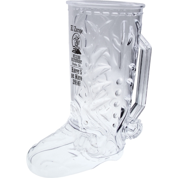 20 oz. Clear Plastic Cowboy Boot Mug w/Handle
